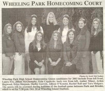 Wheeling Park 2003 Girls Homecoming Court